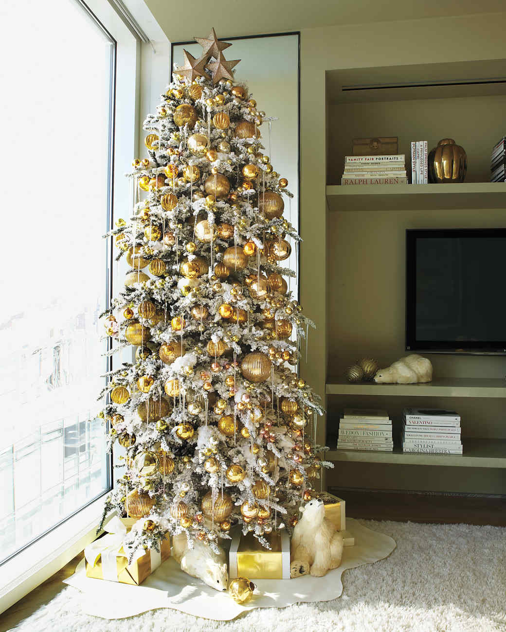 golden tree - Martha Stewart Christmas Tree Decorations