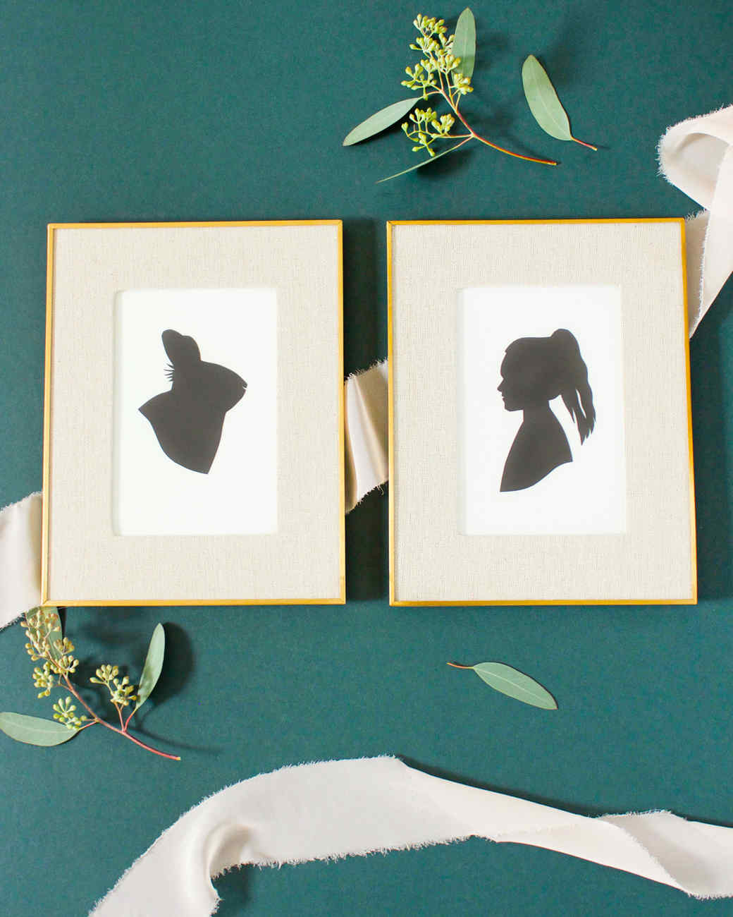 framed silhouette art rabbit and woman