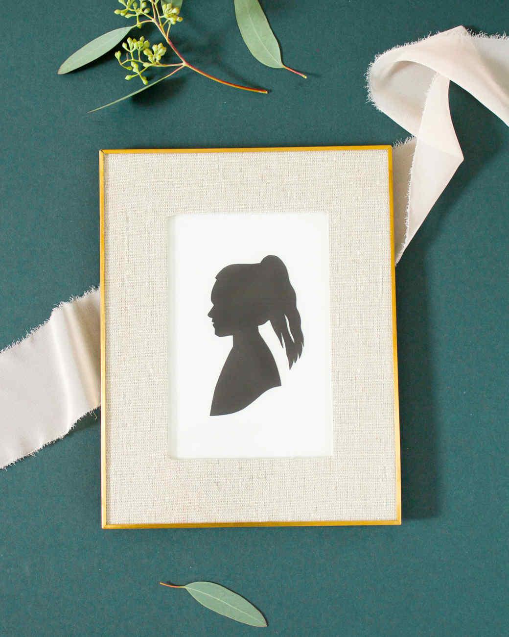 framed silhouette art profile of woman