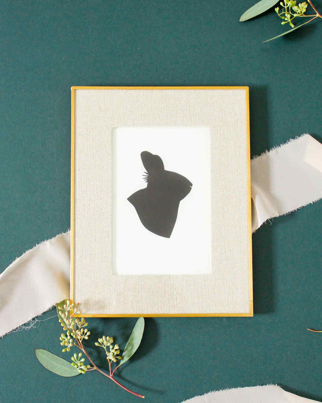 framed silhouette art profile of rabbit