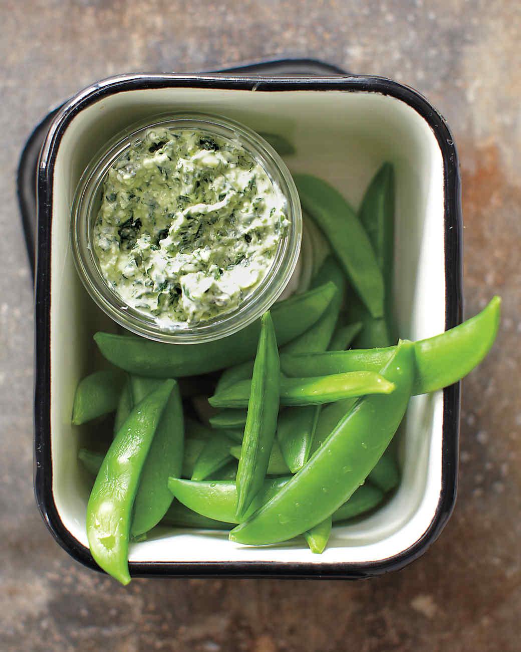 Kale Dip with Snap Peas