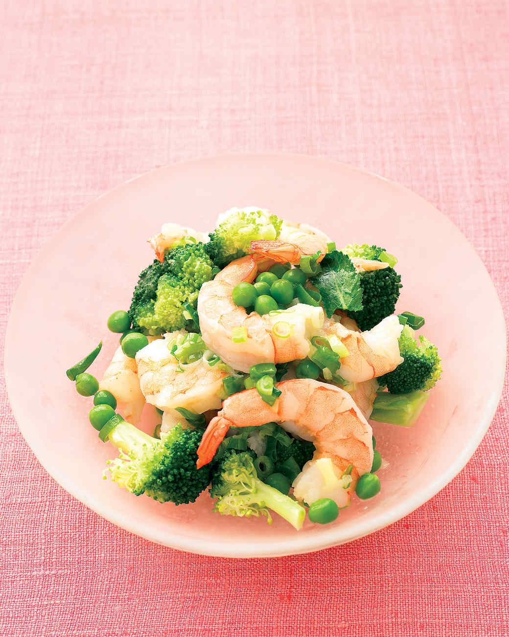 Lemony Sauteed Shrimp with Broccoli and Peas