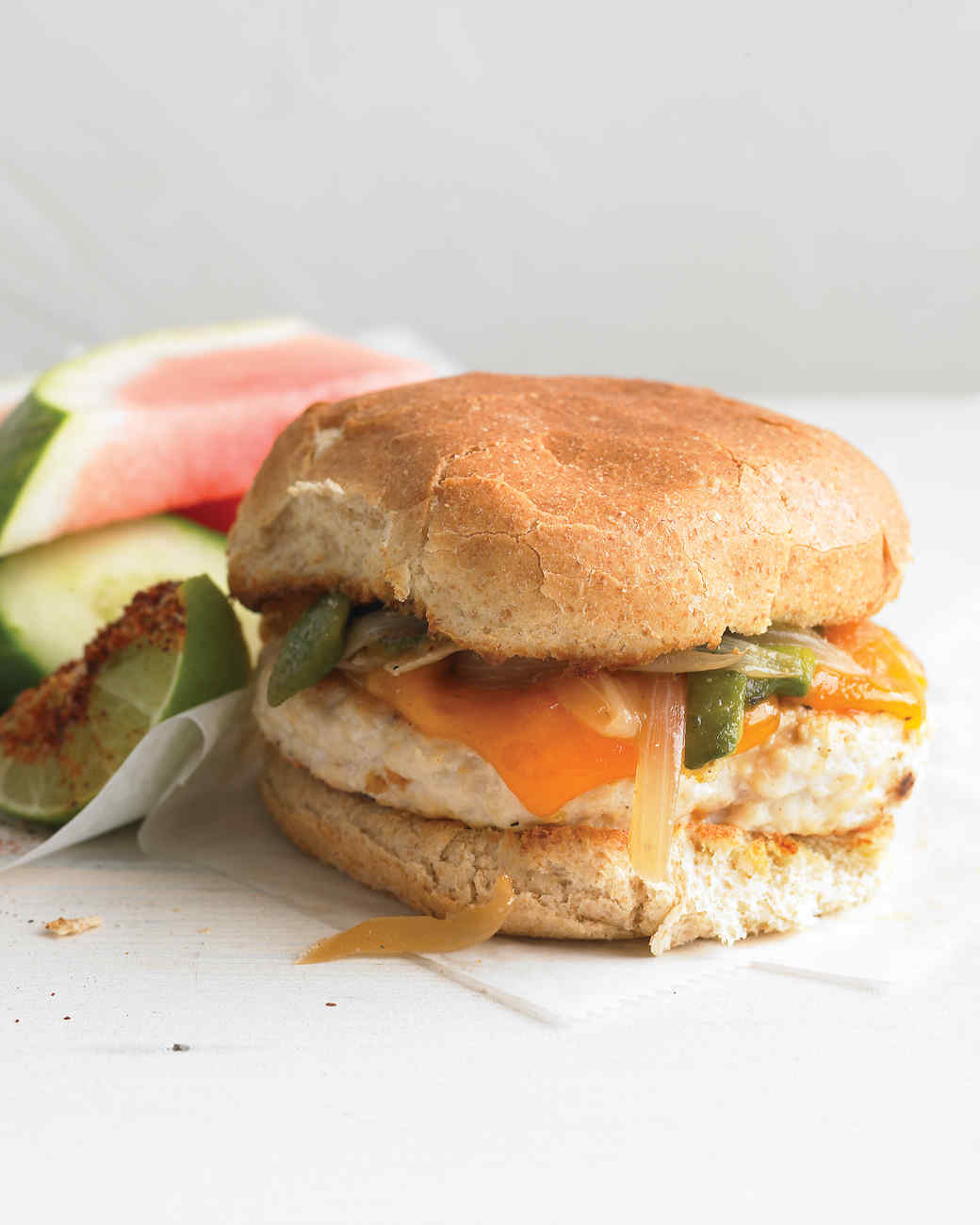 Chicken Burger with Roasted Poblano and Onion