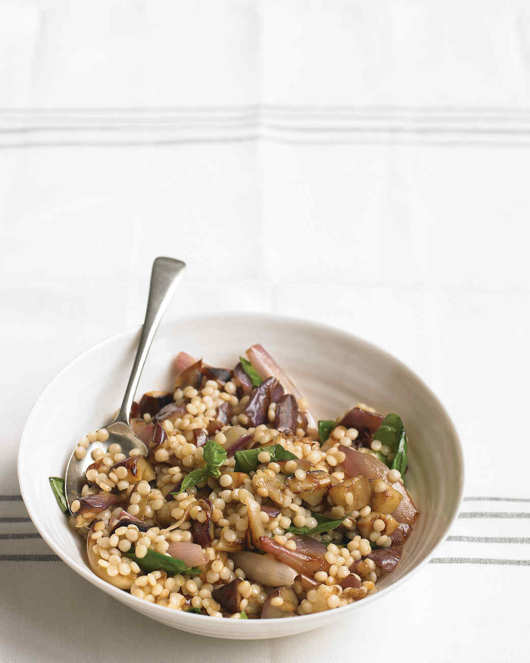 Eggplant Salad with Israeli Couscous and Basil