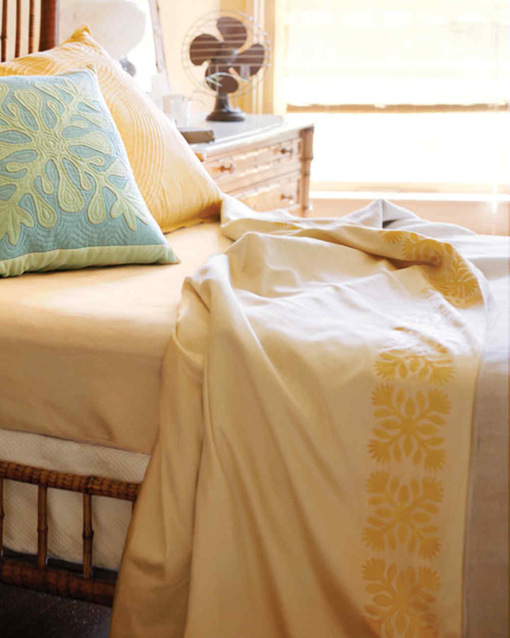 Stenciled Hawaiian Print Bed Linens