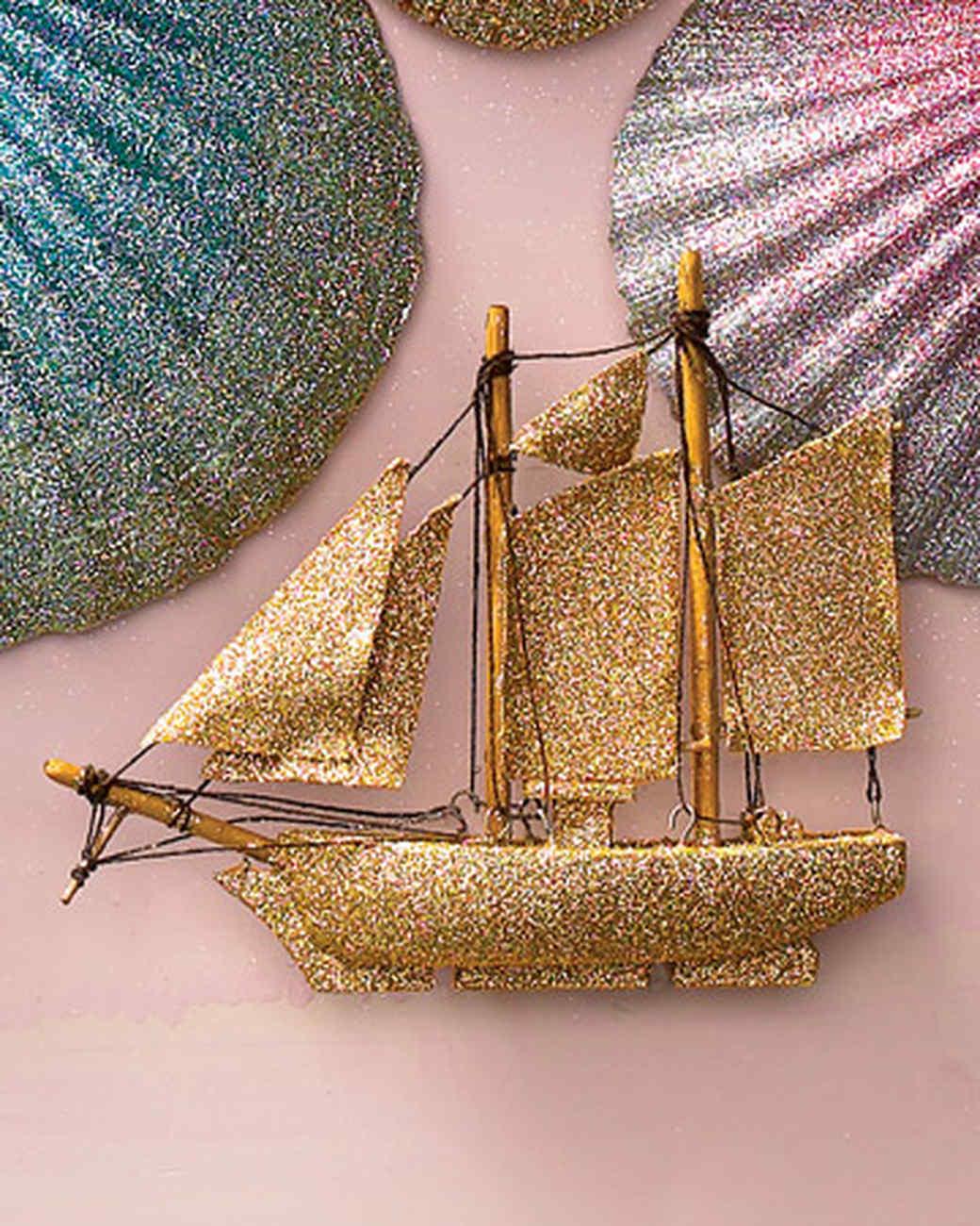 Glittered Sailboat Ornament