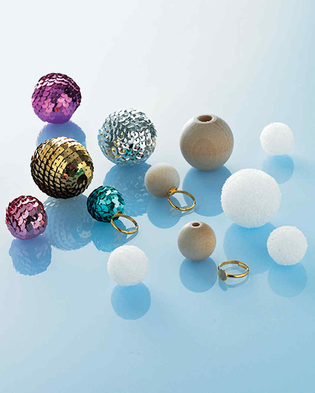 Sequin-Wrapped Beads and Foam Balls