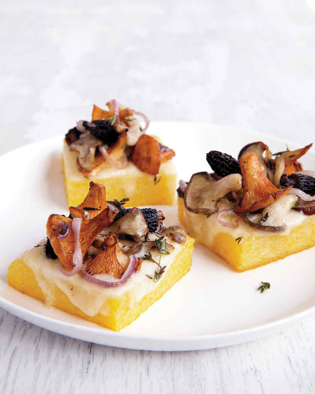Wild Mushroom Ragout On Crispy Polenta With Comte Cheese ...