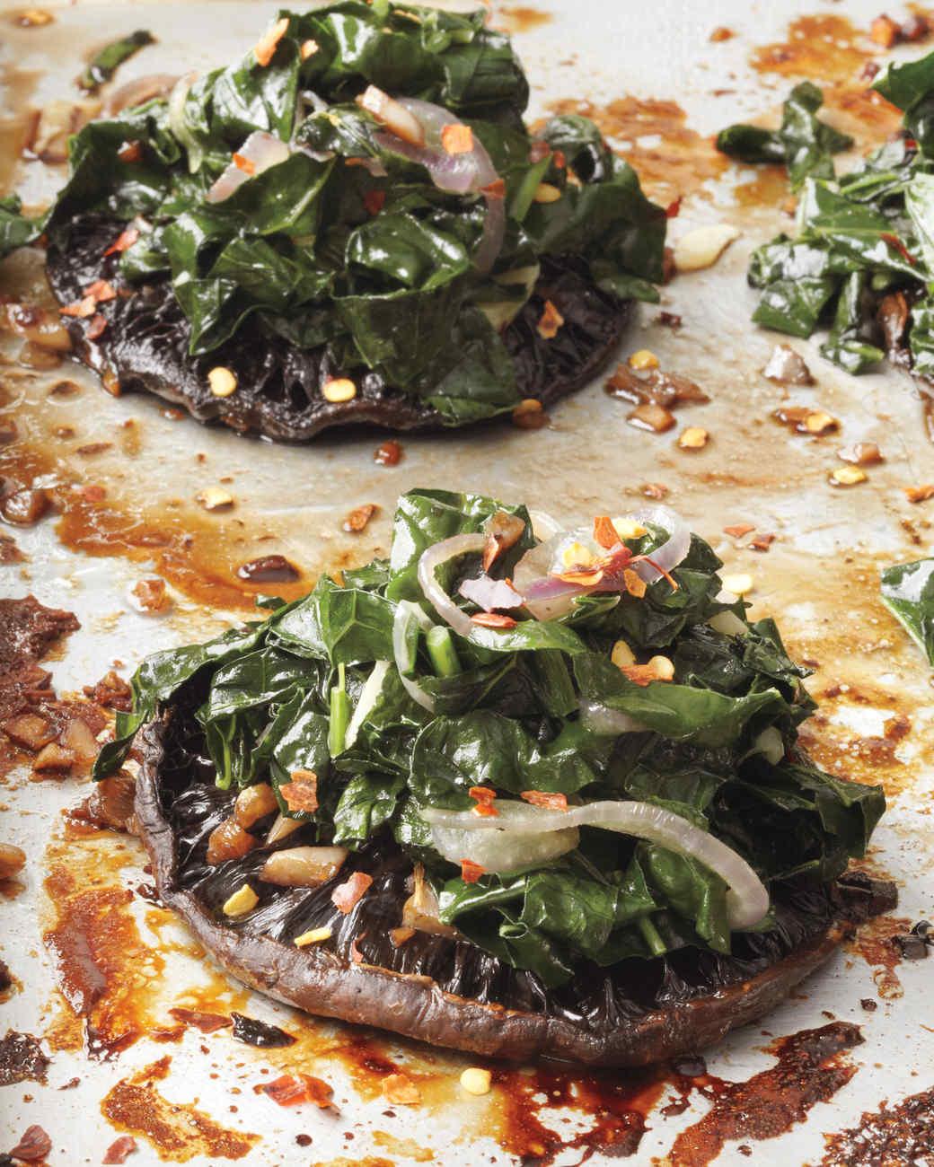 Roasted Portobellos with Kale