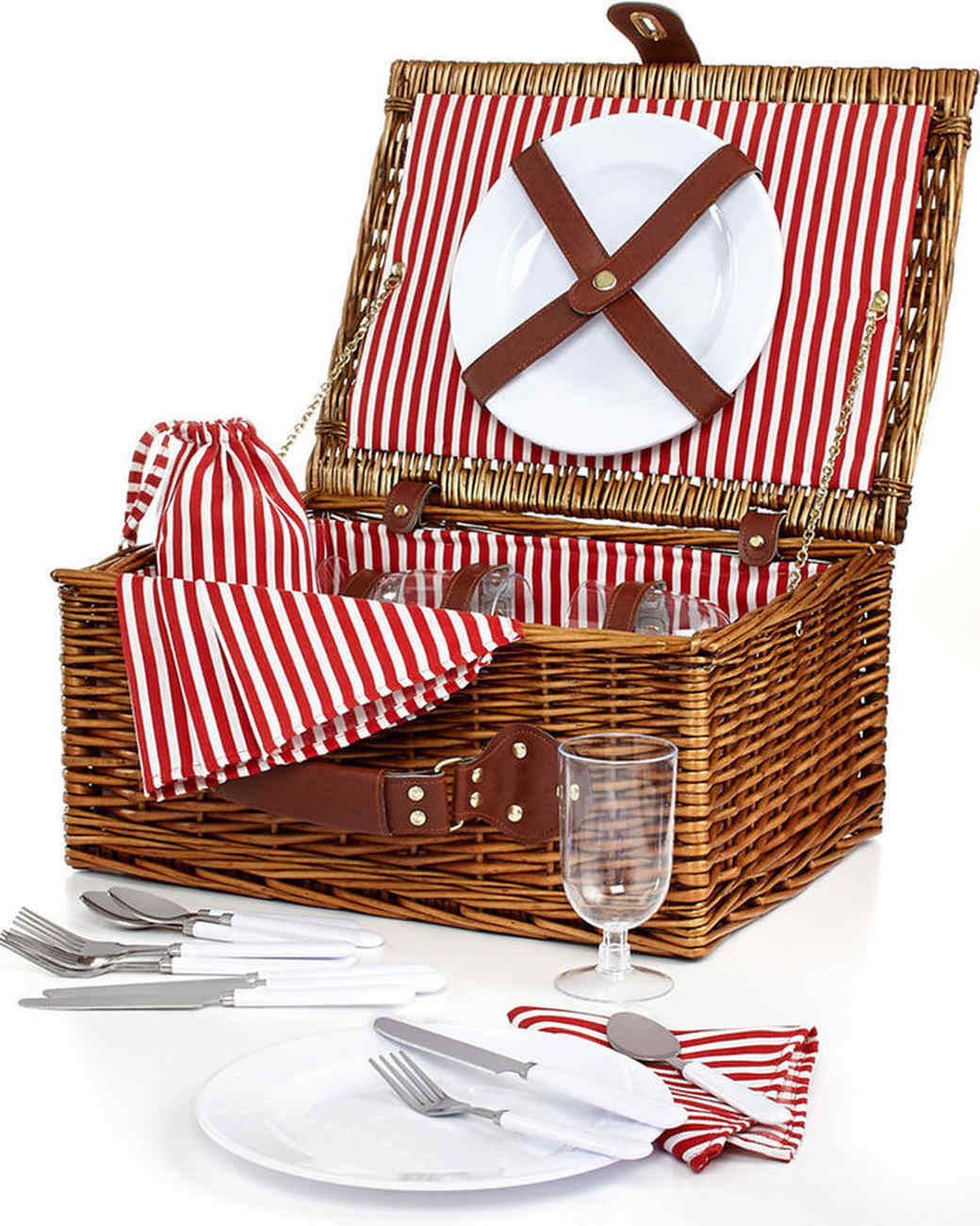 Martha Stewart Collection Brown Wicker Picnic Basket for 4