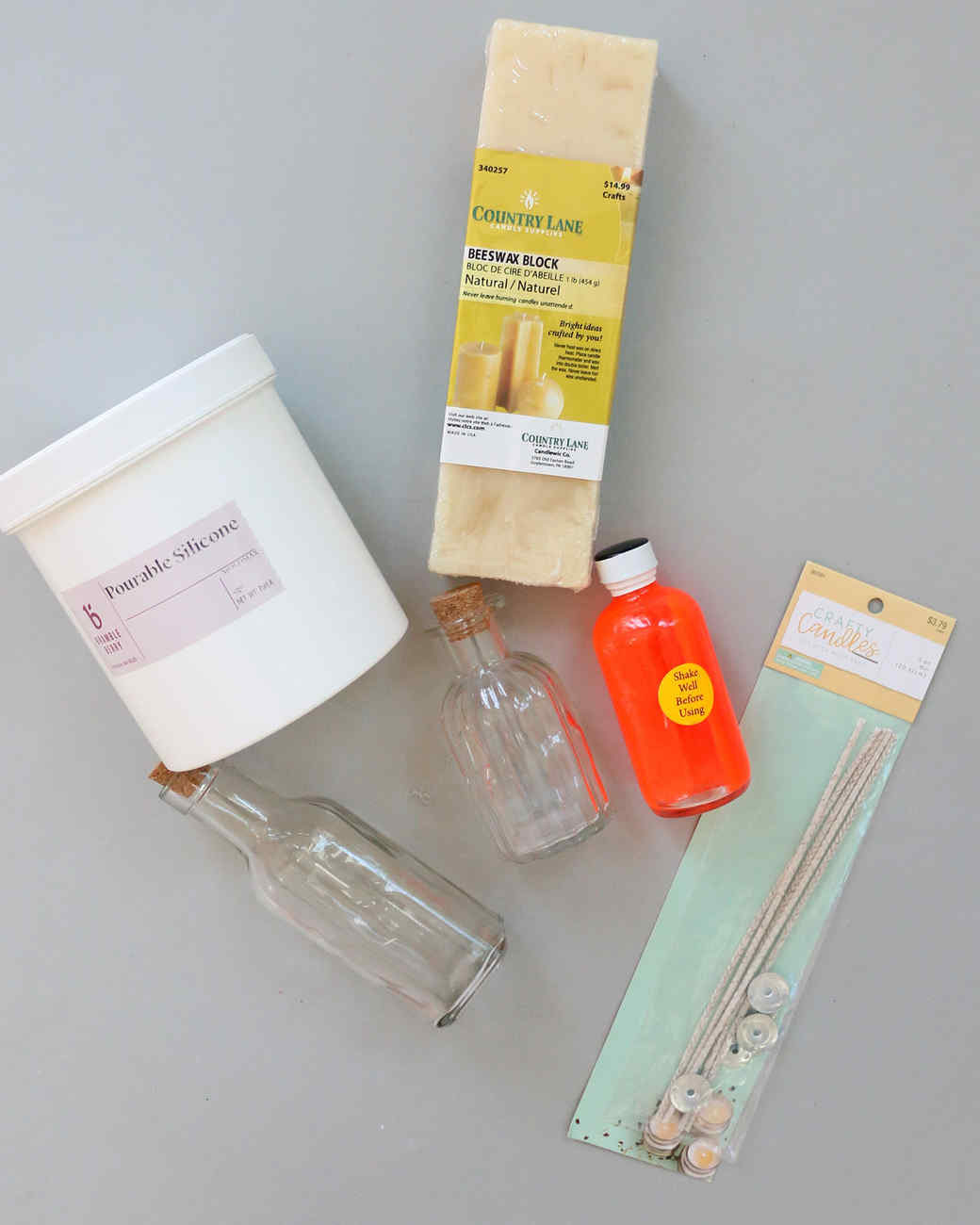 materials to create bottle candles