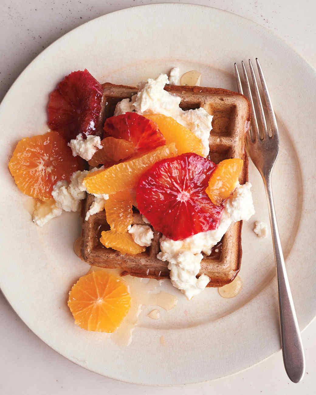 Buckwheat Waffles with Fresh Ricotta and Citrus