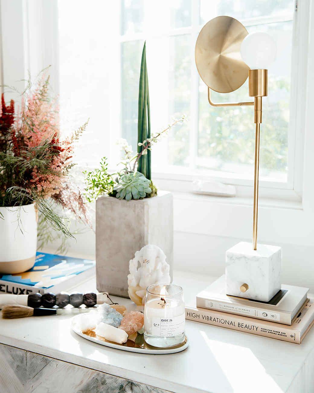 decorative candle in boho california home