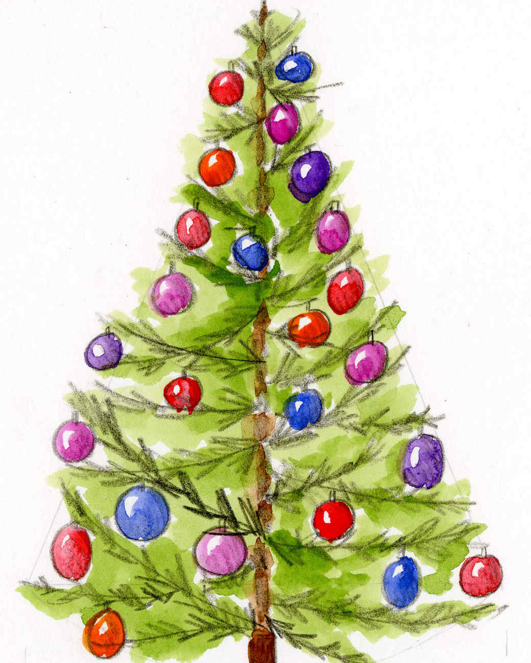 drawing of green christmas tree with colorful bulbs