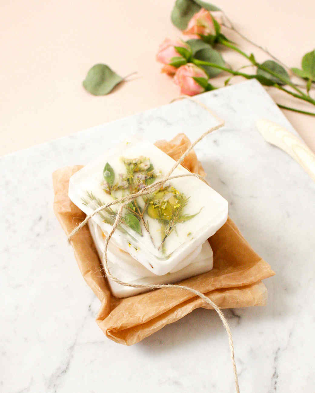 dried pressed flower soap bar tied