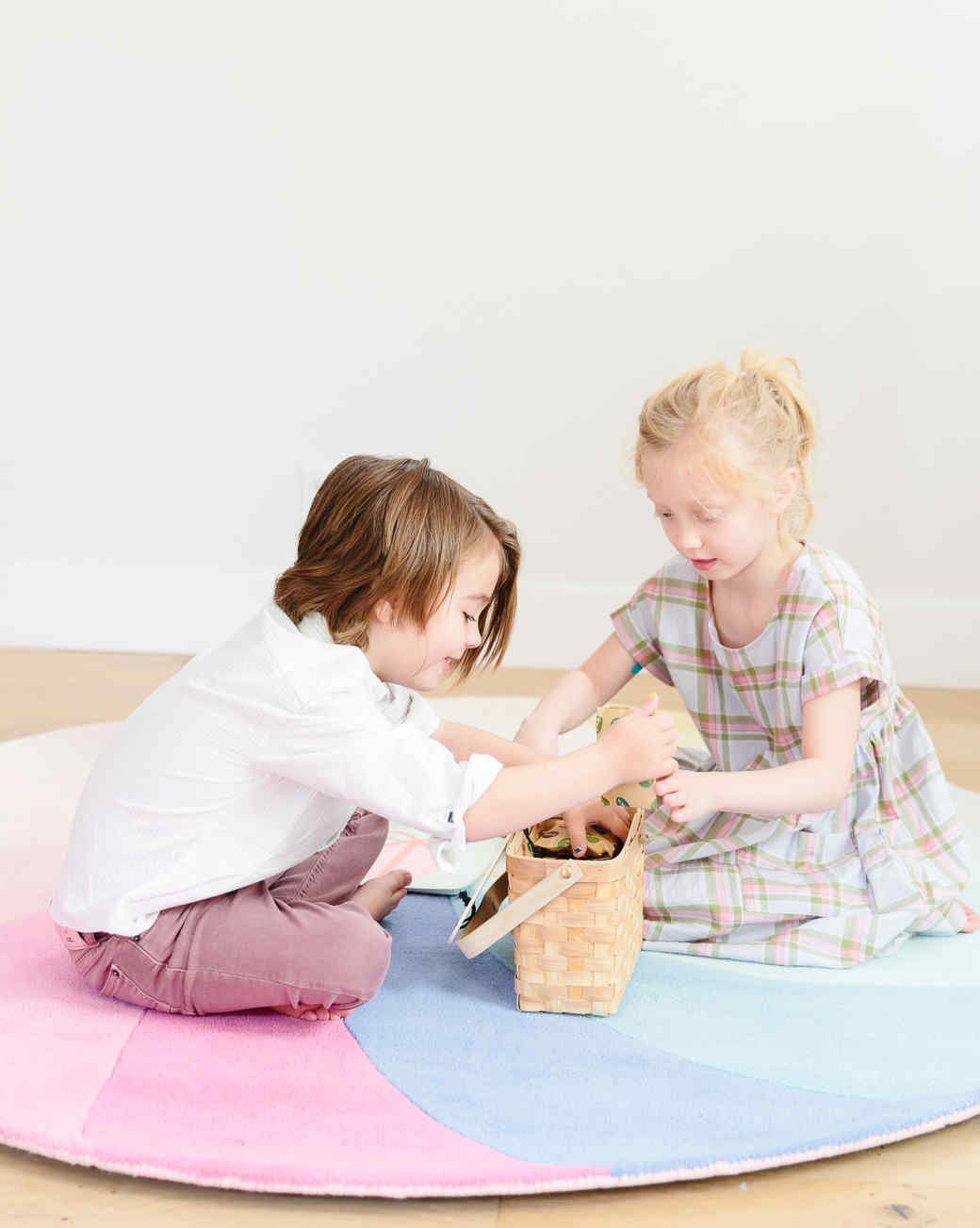 kids playing with easter basket
