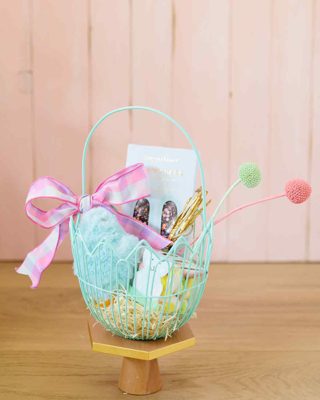wire easter basket with bow