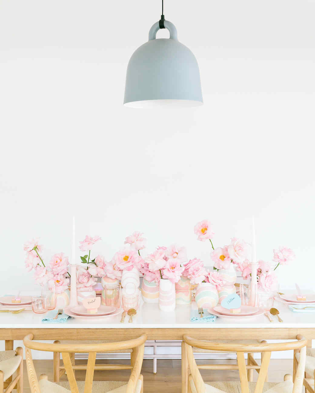 easter table decorations with blue overhead light