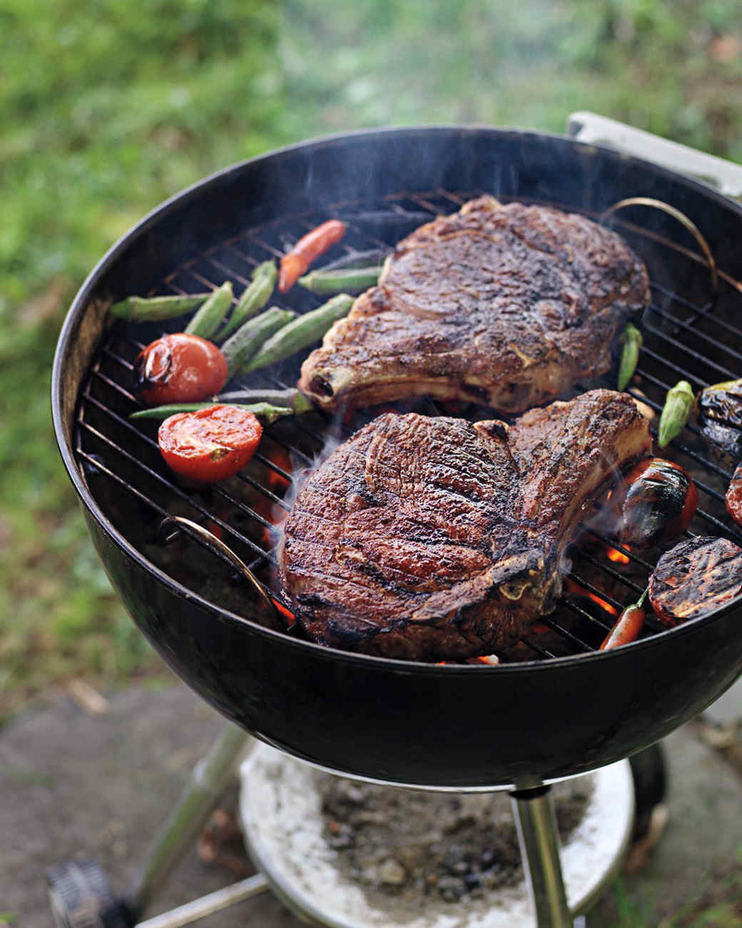 Masala-Spiced Rib-Eye Steaks with Tomato-Okra Relish