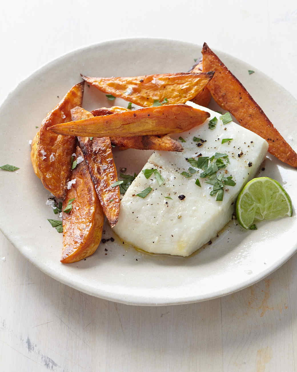Halibut with Sweet Potato Fries and Lime
