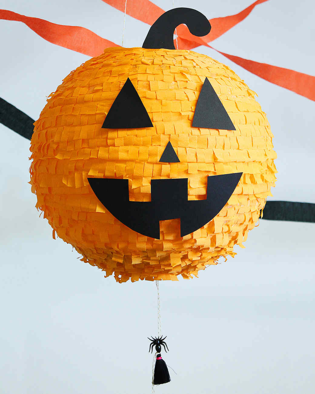finished halloween pumpkin pinata