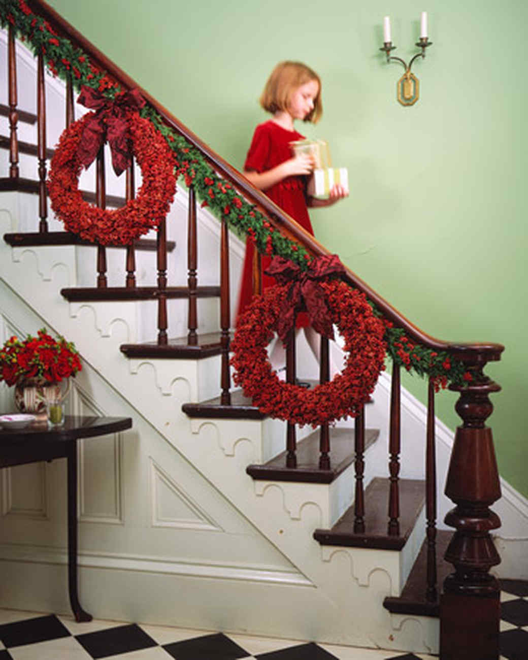 juniper and pepperberry garland - How To Decorate Outdoor Stairs For Christmas