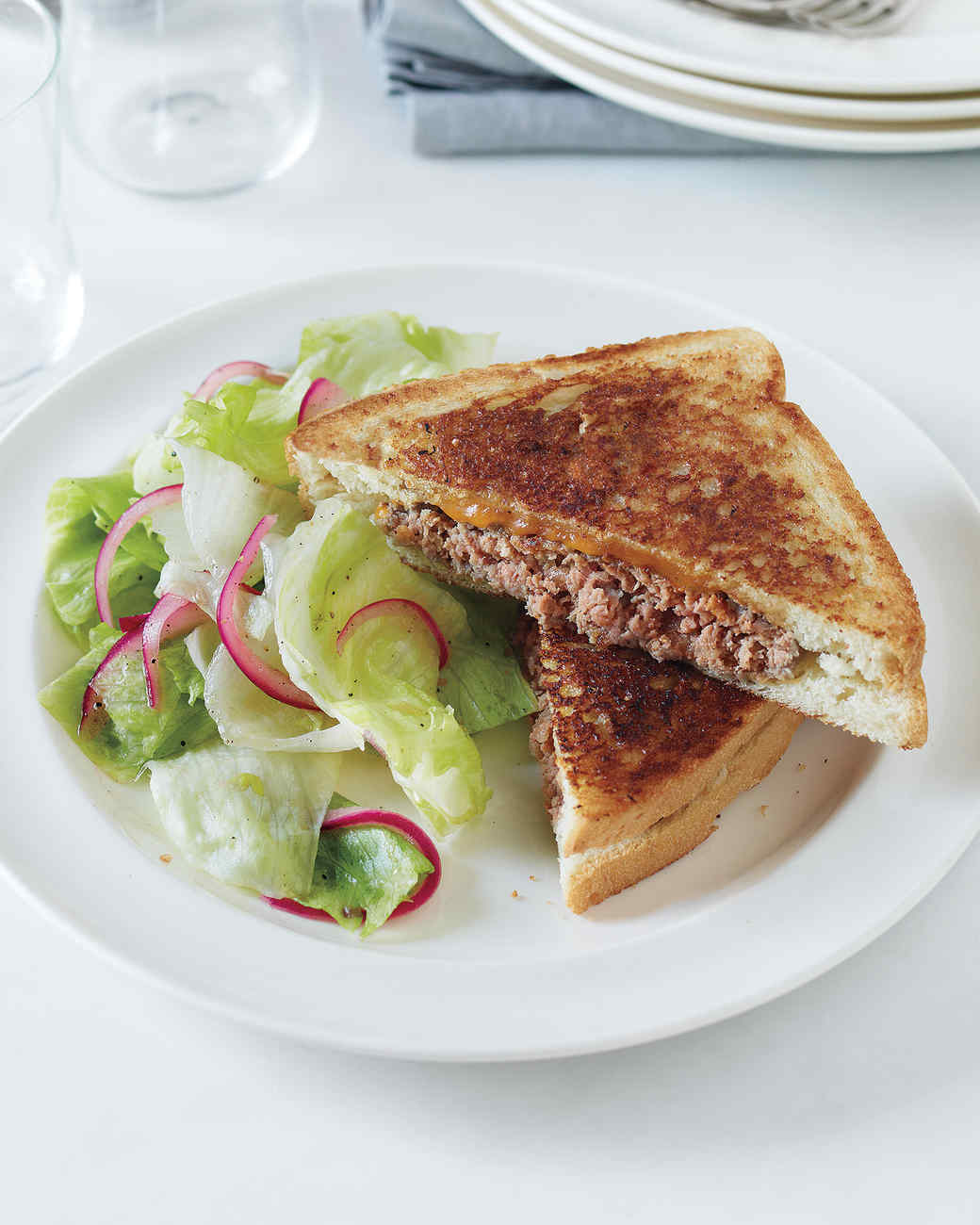 Patty Melt with Pickled Onion Salad