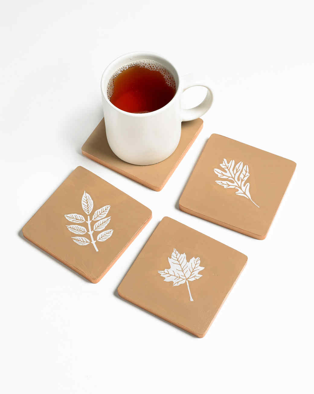 merch stencil leaf coaster
