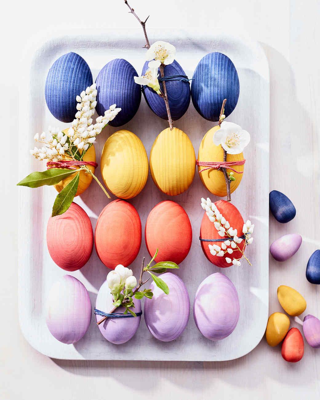 Dyed Wooden Easter Eggs Martha Stewart