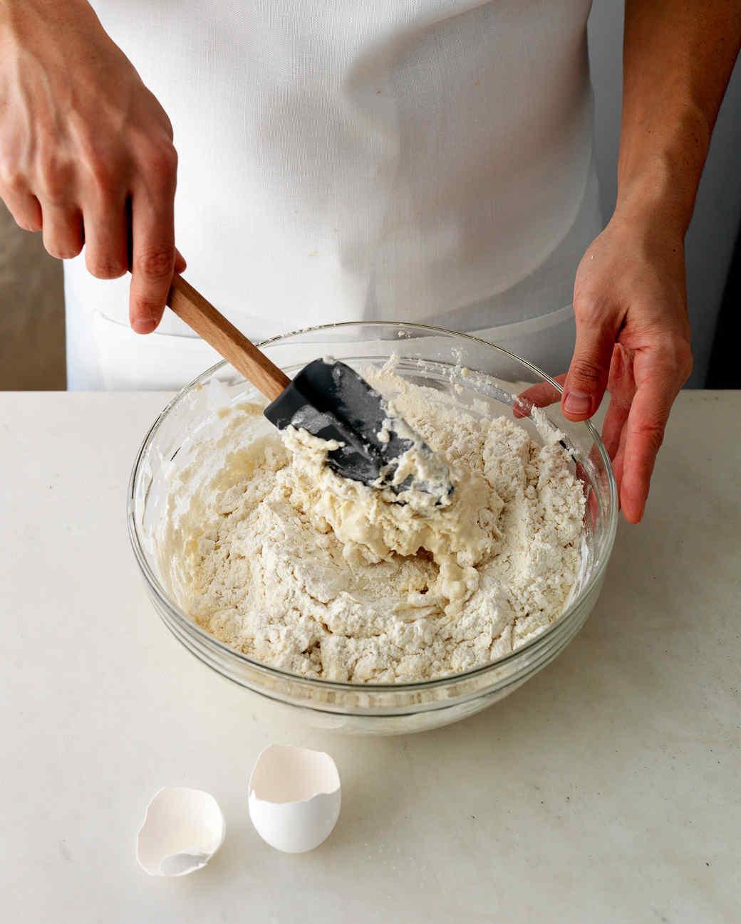 pierogis dough mixing
