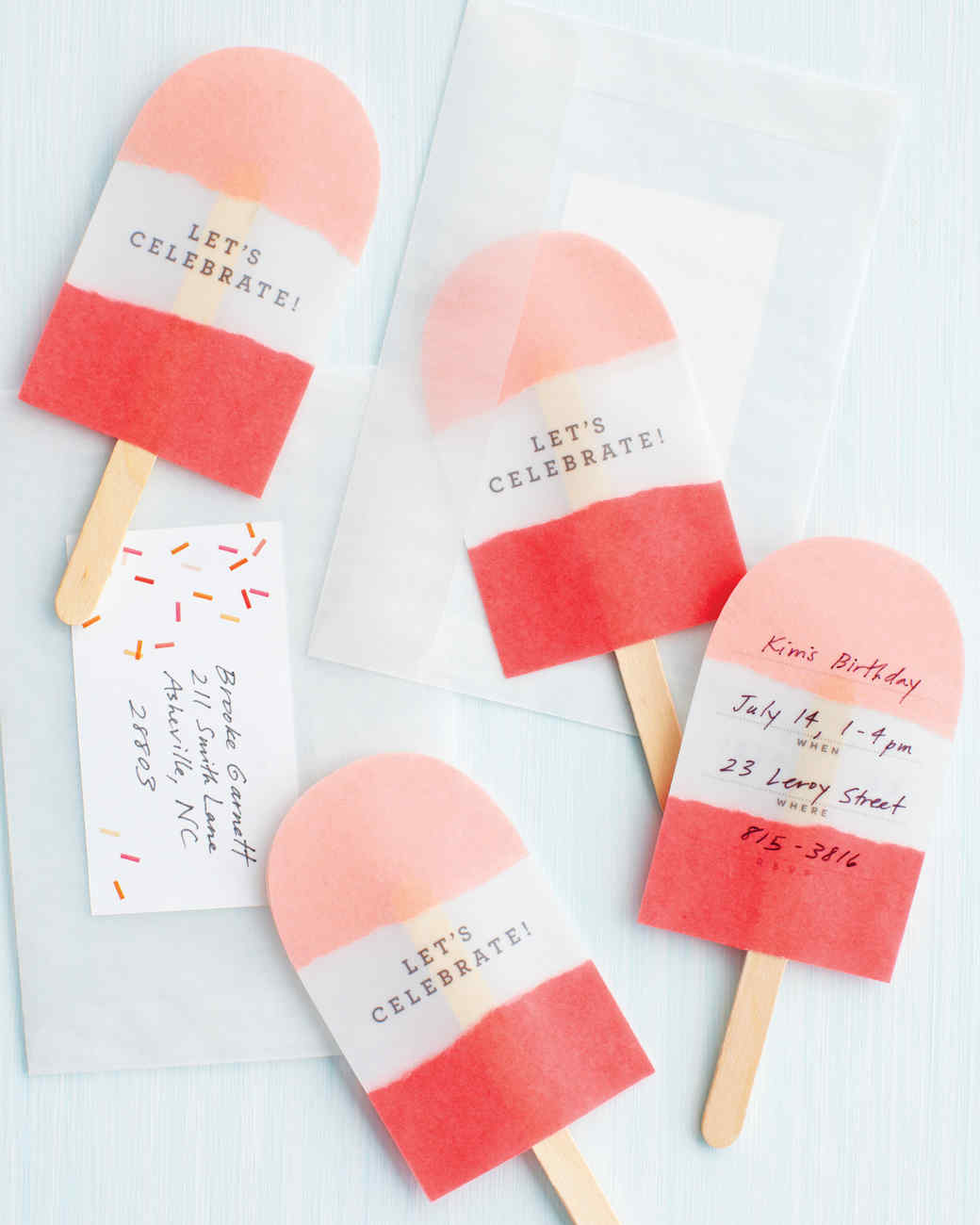 No-Melt Pop Invitations | Martha Stewart