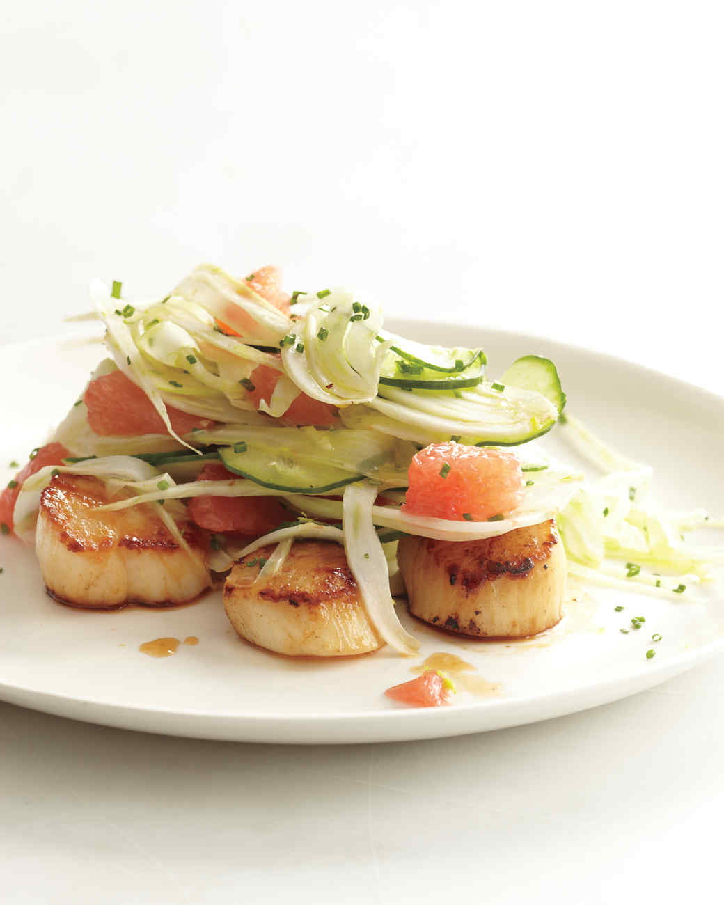 Seared scallops with fennel, cucumbers, and grapefruit by Martha Stewart on @thouswellblog