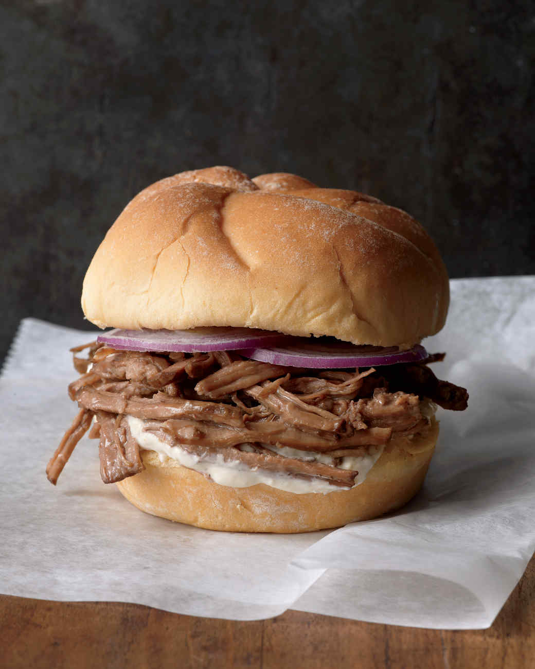 shredded beef on sandwich bun