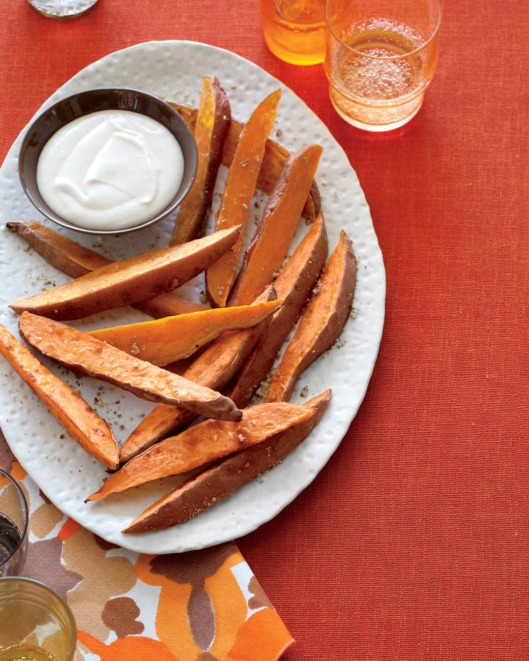 Sweet Potato Fries with Brown-Butter Marshmallow Sauce