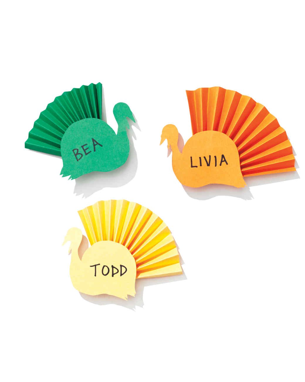 colorful paper turkey place cards martha stewart - Folded Place Cards