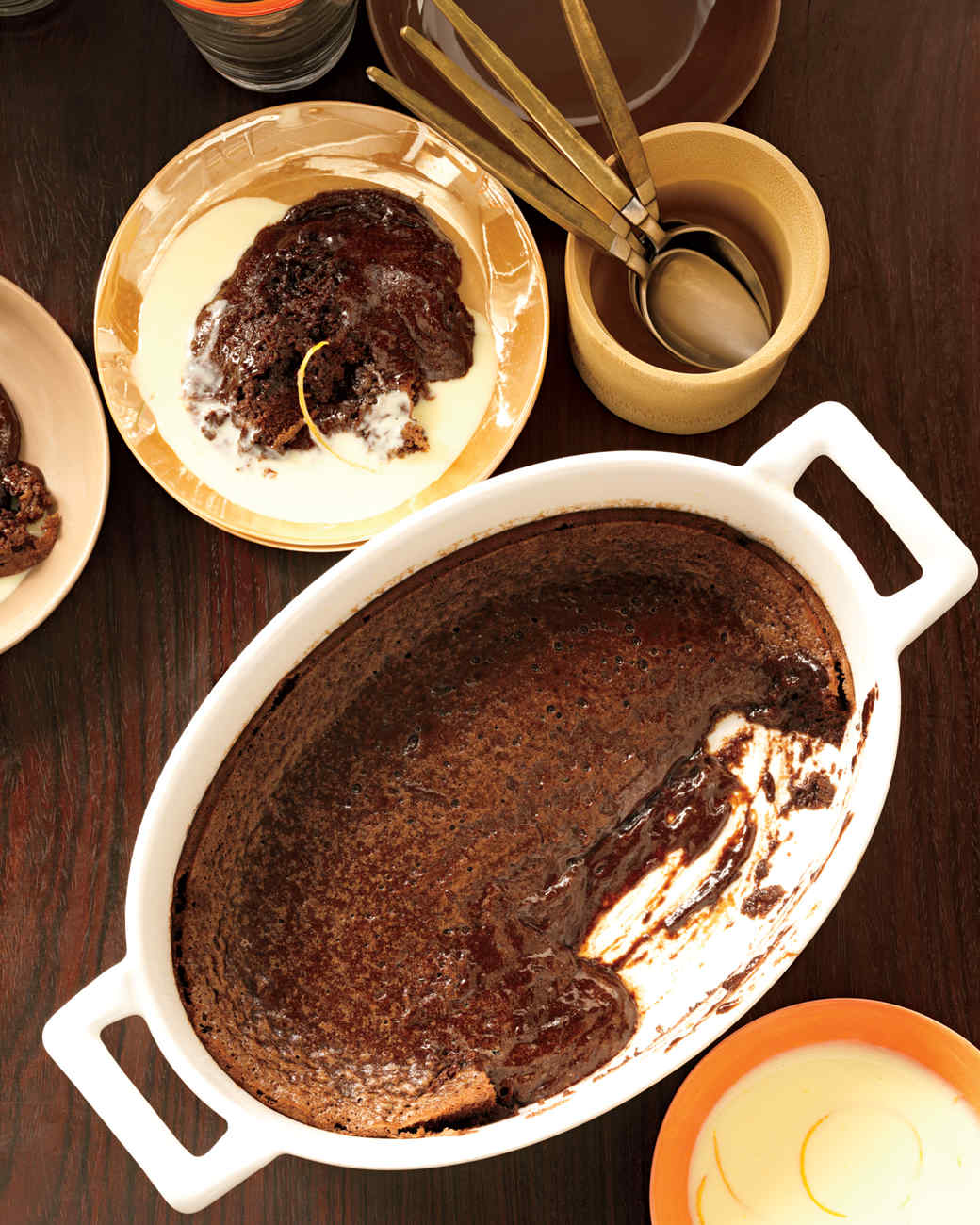 Soft Chocolate Cake with Orange Creme Anglaise