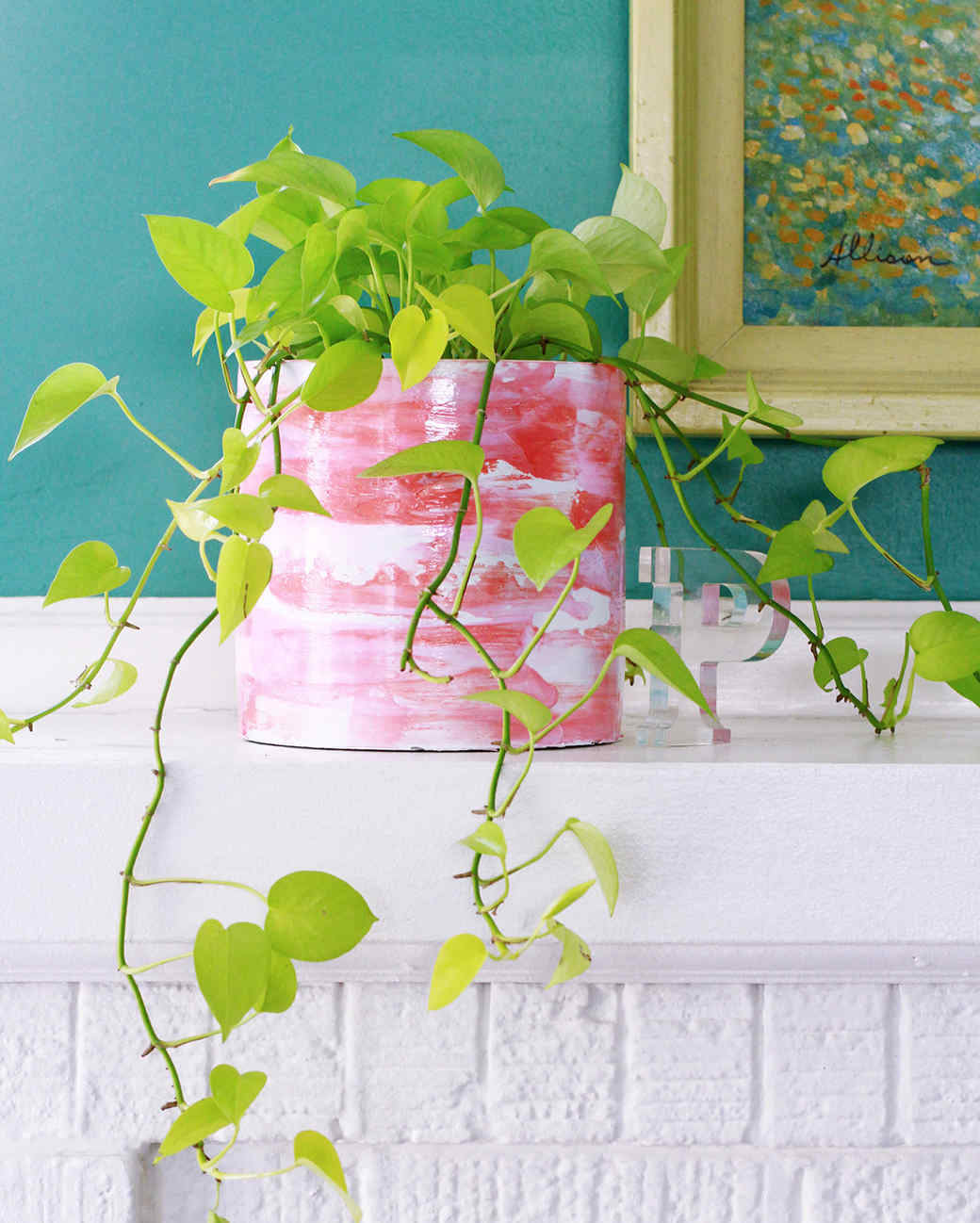 watercolor pink painted planter on mantel