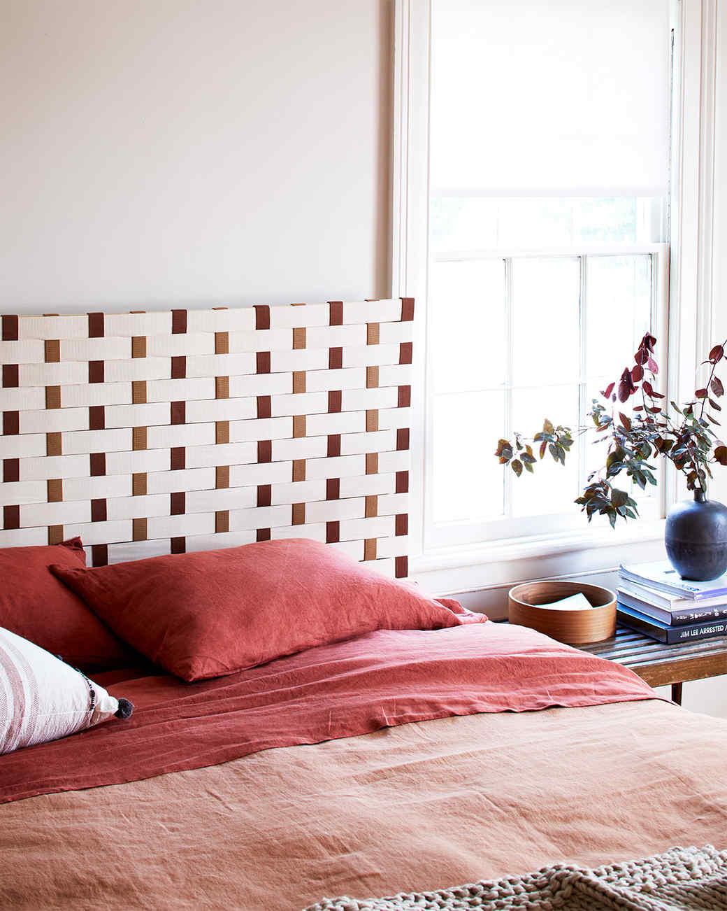 woven headboard in a bedroom