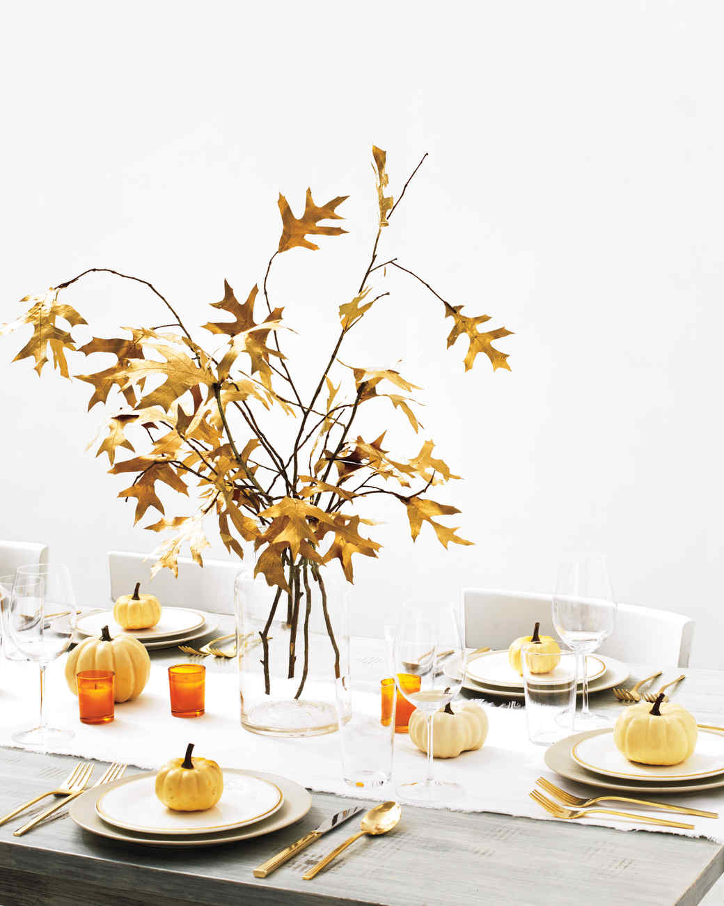 Golden fall leaves centerpiece martha stewart