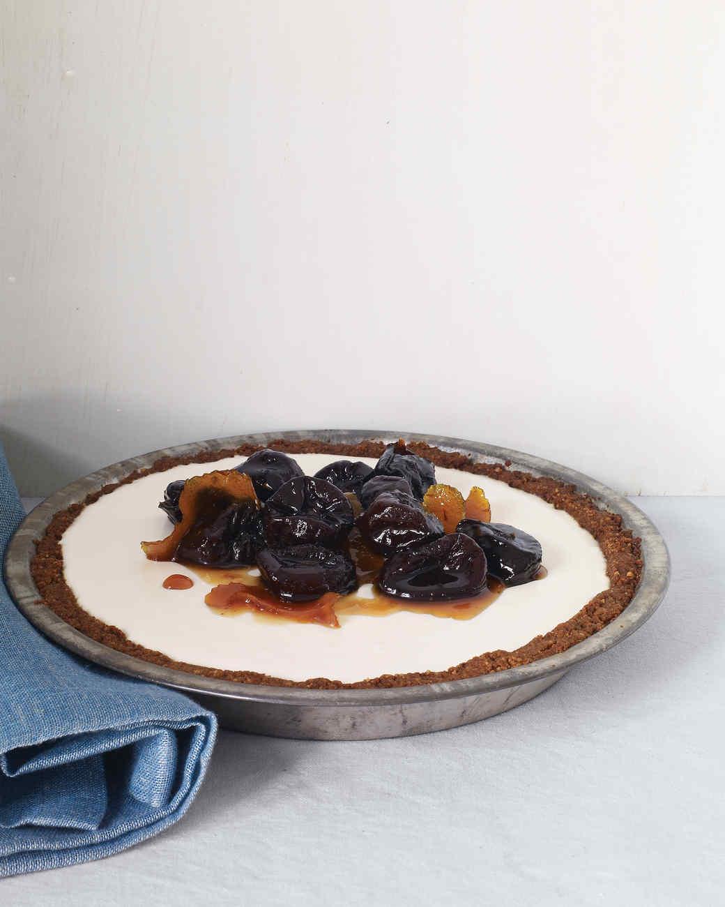 Panna Cotta Pie with Poached Fruit