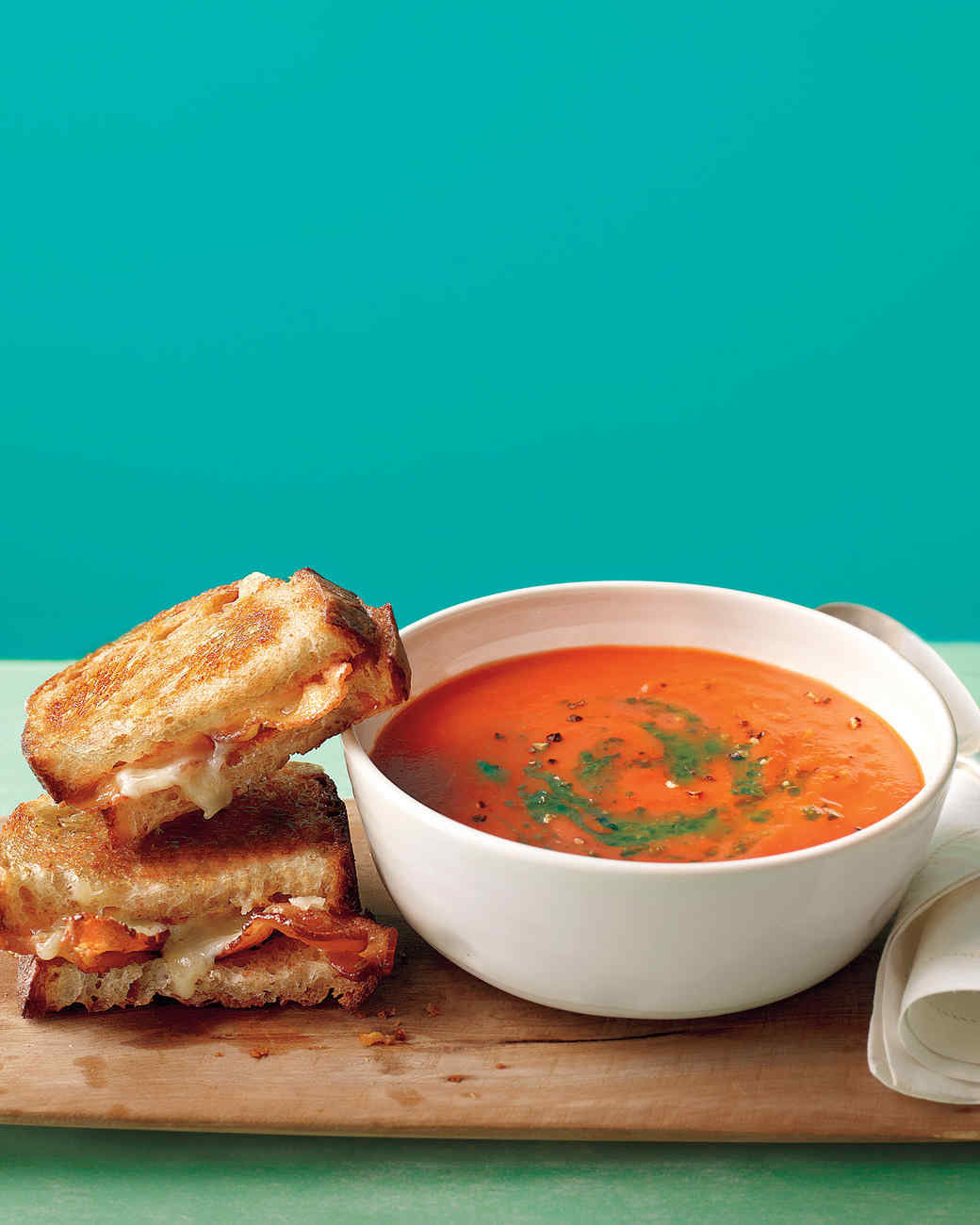 Tomato Soup with Bacon Grilled  Gourmet Grilled Cheese And Tomato Soup