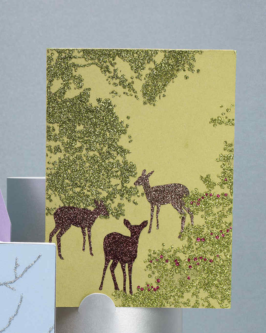 Glittered Clip-Art Deer Cards