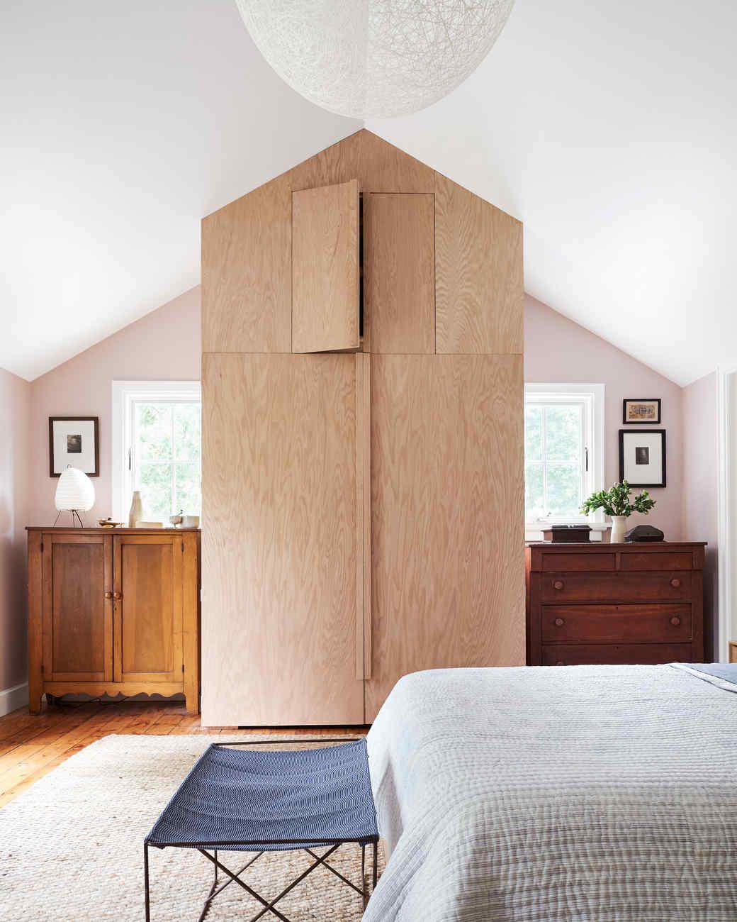 oak plywood wardrobe in bedroom