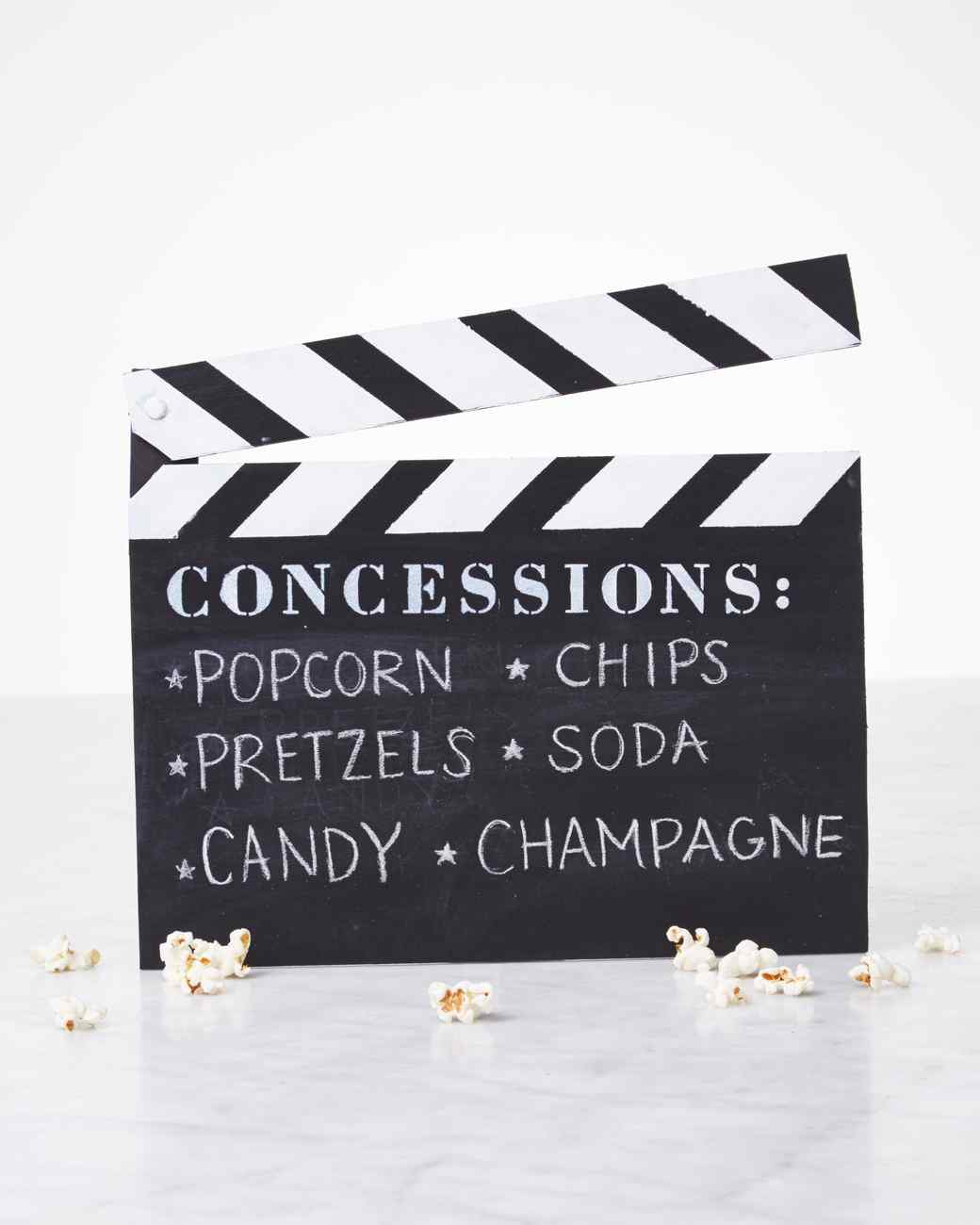 Clapboard Menu For Movie Night | Martha Stewart