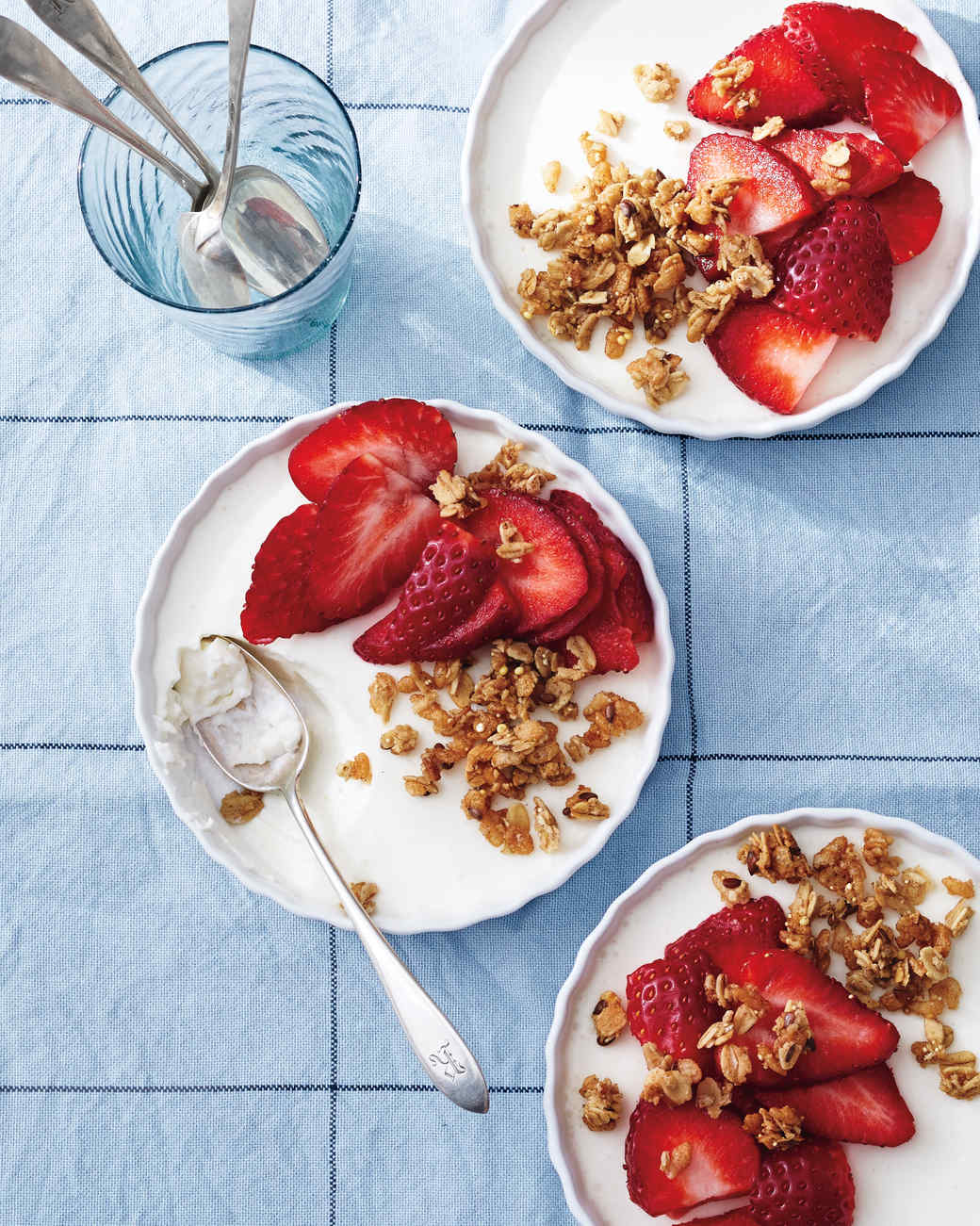 Yogurt Panna Cotta with Strawberries and Granola Recipe | Martha ...