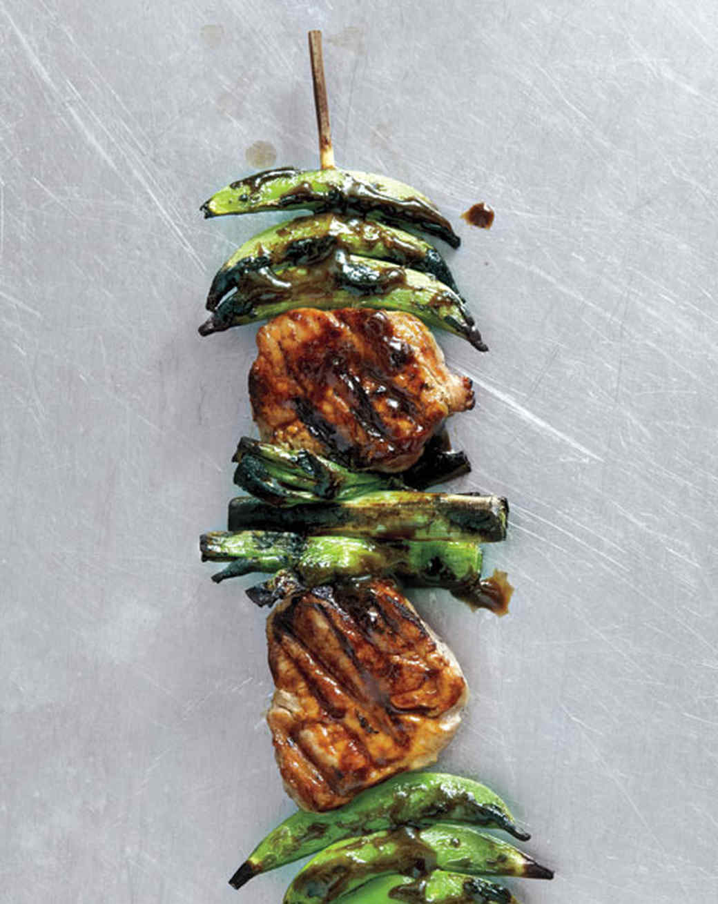 Pork and Snap Pea Kebabs with Ginger-Hoisin Glaze