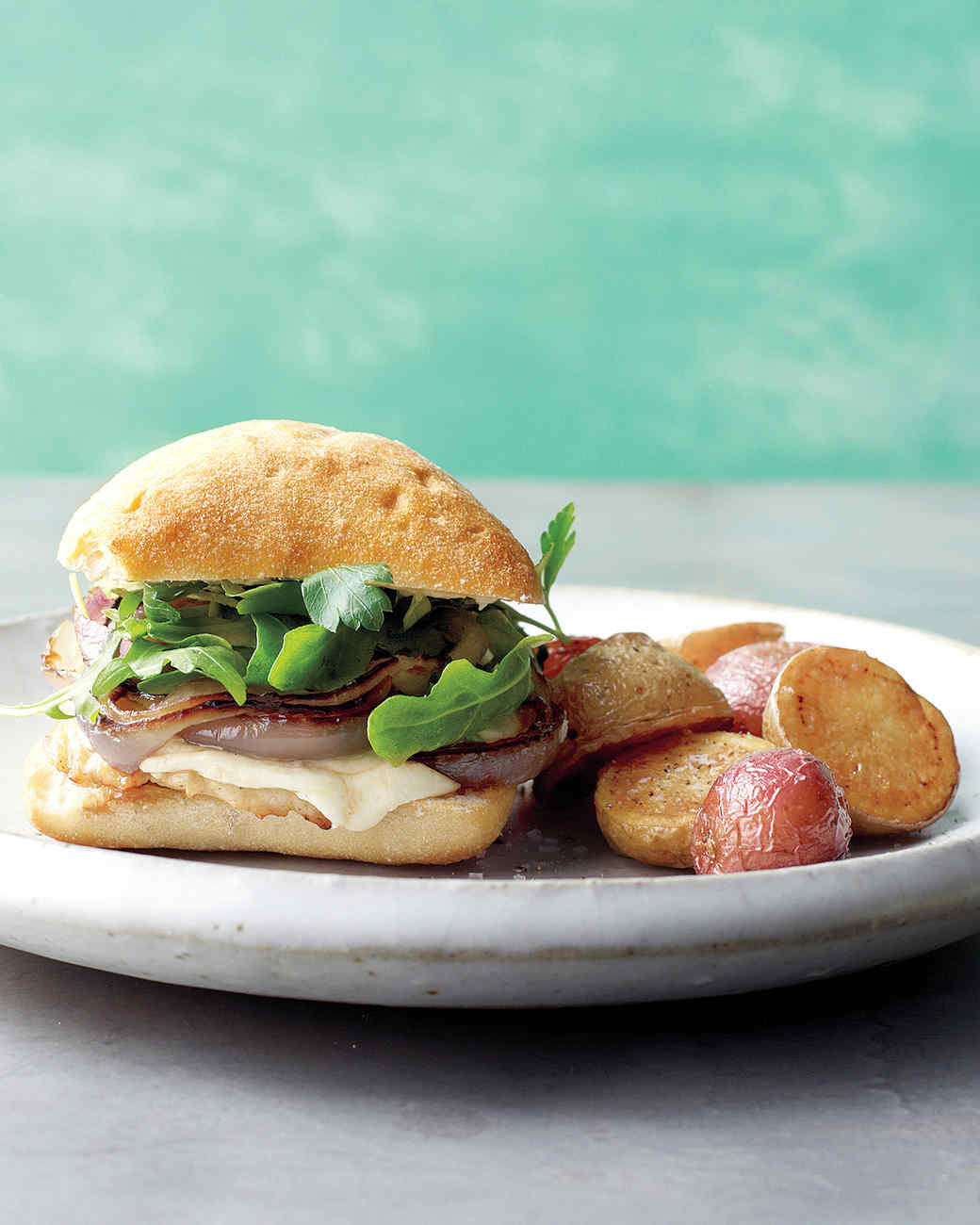 Chicken, Onion, and Mozzarella Sandwiches with Roasted Potatoes