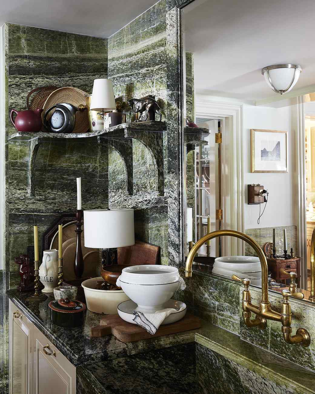 kitchen with marble and brass