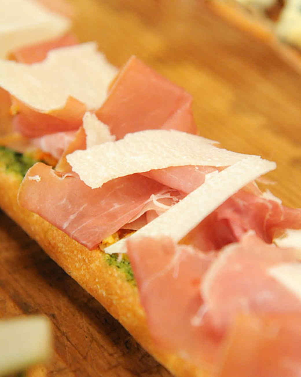 Open-Faced Baguette with Prosciutto and Green Olive Tapenade