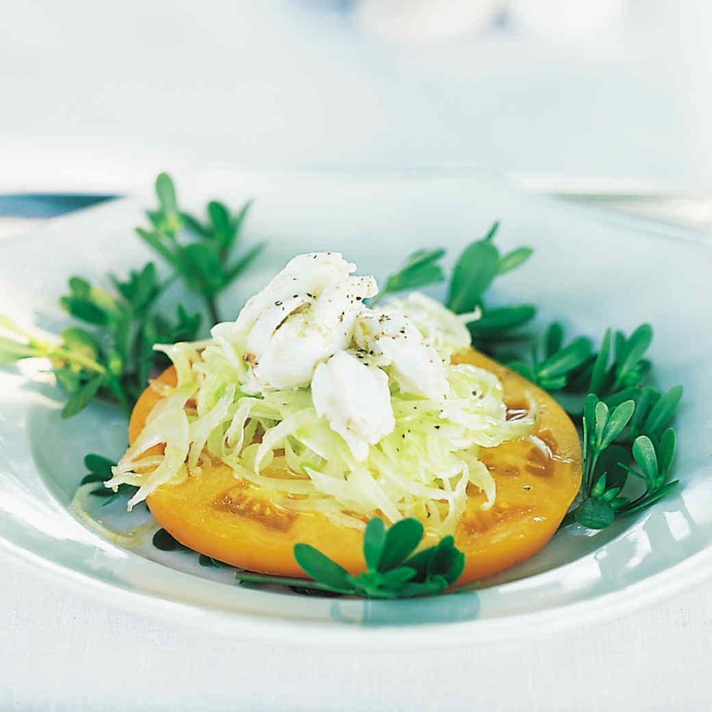 Fennel Crab Salad on Beefsteak Tomatoes